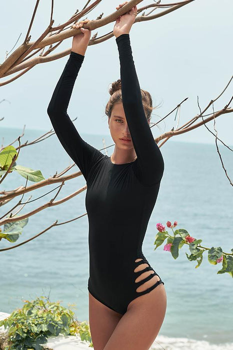 malai Black one piece features cut out details moderate coverage