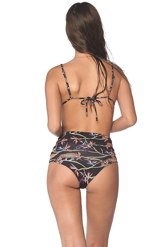 High waisted bikini bottom by malai swimwear with caged details
