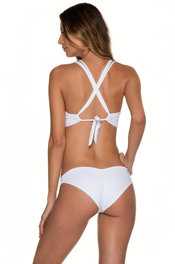 MALAI Awe Fishbone White Ruched Bottom