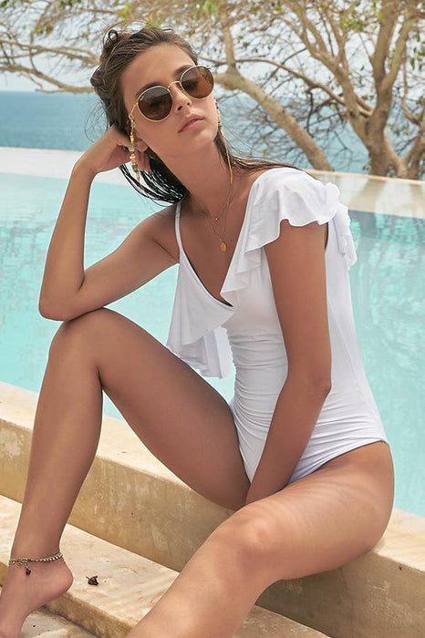 Malai women white one piece provides padding with ruffle details