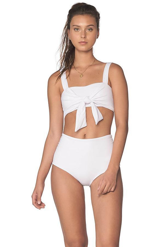 malai white swimsuits bralette top crop top with knot