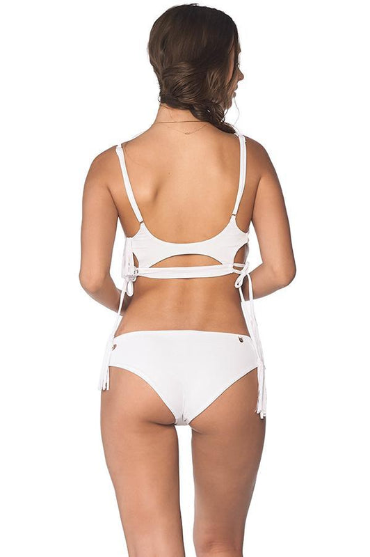 Malai women moderate coverage white bottom features textured fabric