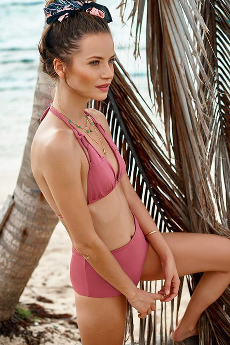 Malai bikini triangle top ties at neck and back