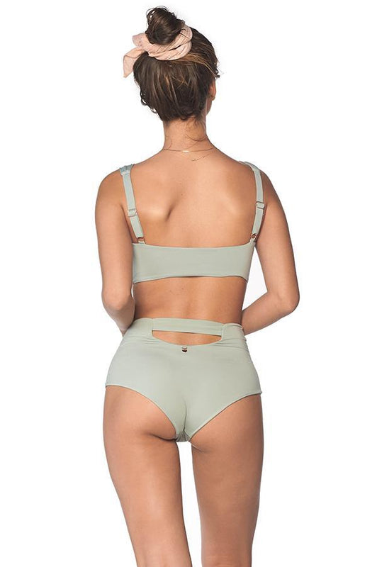 malai high waist bottom provides moderate coverage with cheeky cut at rear