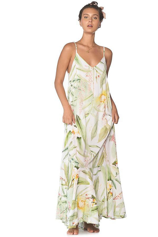 Malai maxi dress with floral print and open back