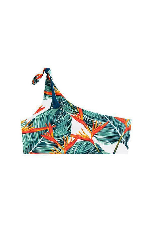 maylana swimwear one shoulder reversible top with tropical print