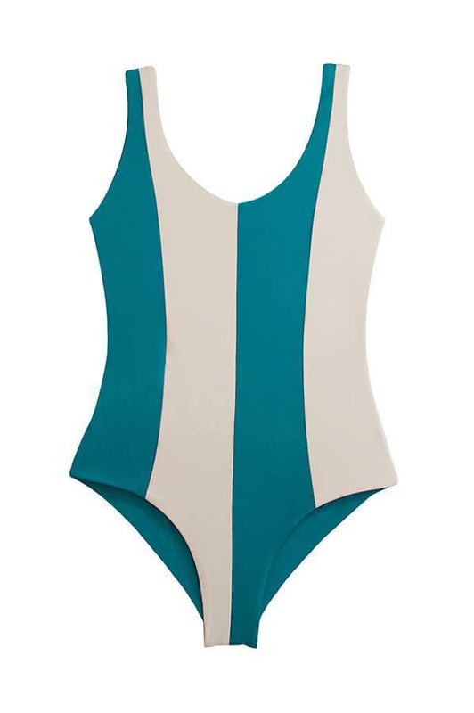 one piece swimsuit with color block design by Maylana Swimwear