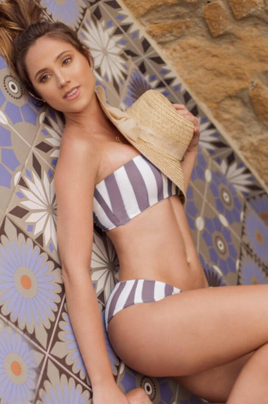 bandeau top in brown and white stripes, swimsuit top that ties at back, strapless design for beachwear