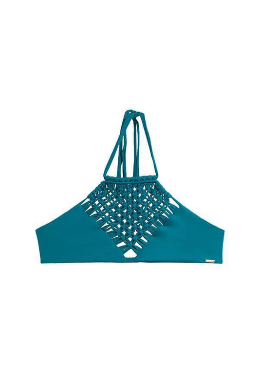 maylana women high neck bikini top features macrame details