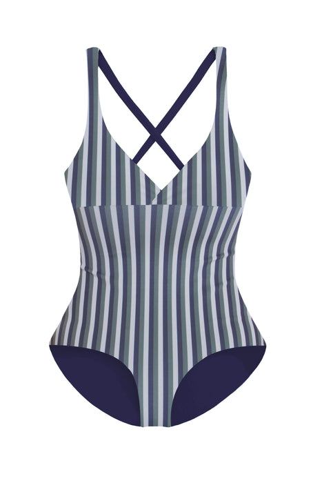 maylana swimwear padded one piece with moderate coverage and striped print