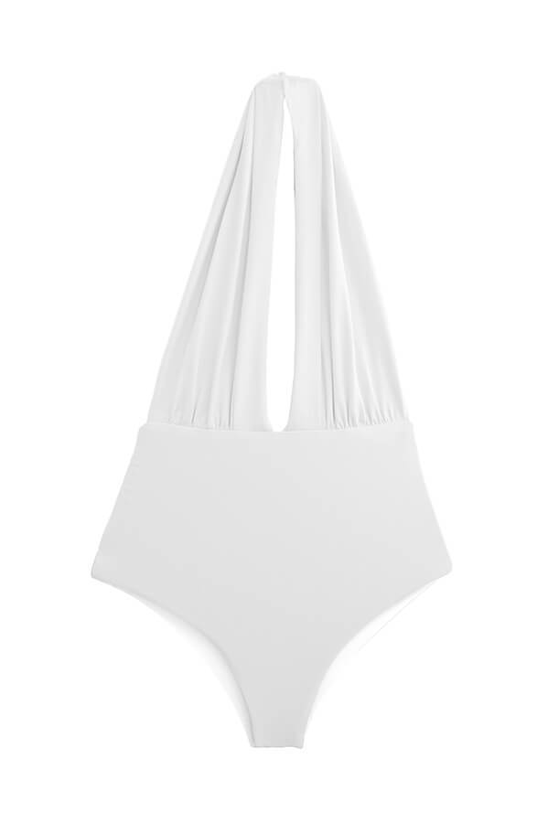 MAYLANA Women's solid white high-waisted bathing suit full coverage halter one piece bikini