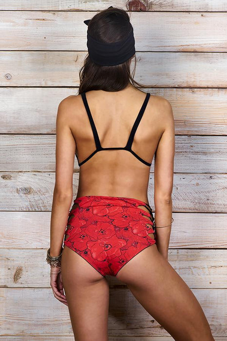 MAYLANA Women's swimwear high waisted caged red floral print bikini bottom