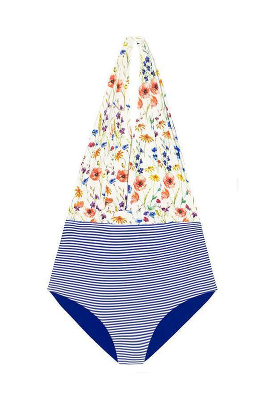 maylana swimwear vintage monokini with floral print and stripes print, open back and halter design