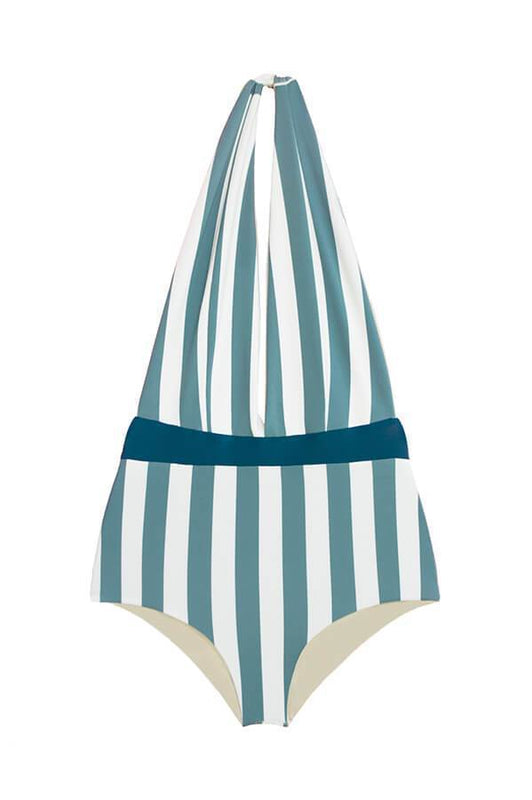 Maylana women stripes one piece with halter design and features an open back design