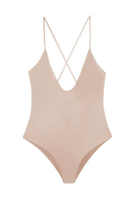 Maylana women's colorful sexy swimmer full cut coverage at rear strappy beige one piece