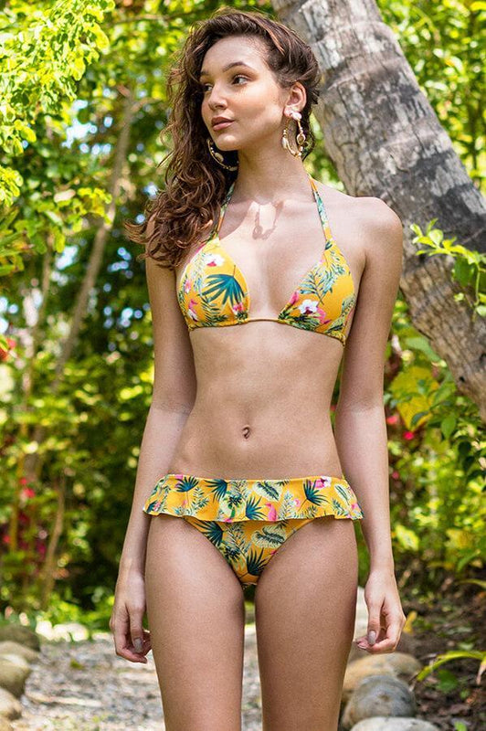 MAYLANA SWIMWEAR TRIANGLE BIKINI TOP WITH PADS AND TROPICAL DESIGN