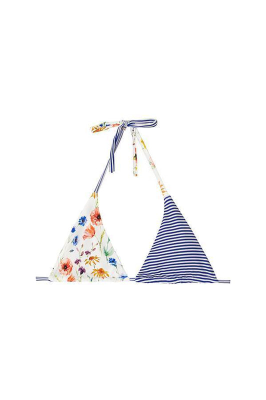 Triangle Top provides pads features blue stripes and floral vintage print