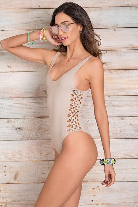 MAYLANA Jess Beige One Piece-OrchidBoutique