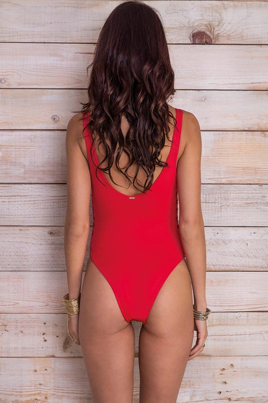 MAYLANA Jess Cherry Red One Piece - Size Medium