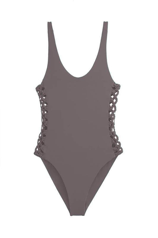 maylana women high cut swimsuit features macrame details at sides