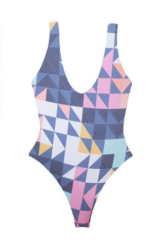 Maylana high cut one piece provides brazilian coverage at rear and reverses to aqua