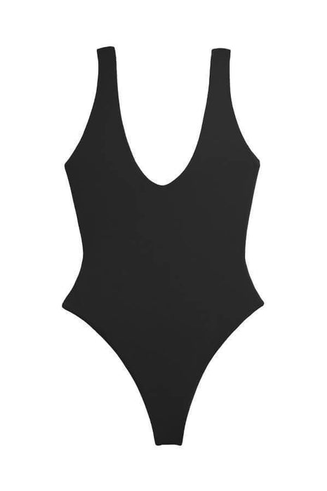 Maylana black one piece features high cut design and brazilian cut design and has a deep back and cleavage