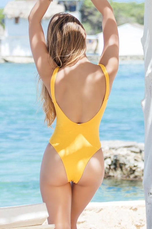 MAYLANA Kim Mustard One Piece-OrchidBoutique