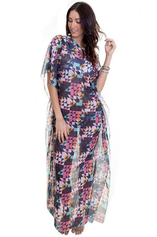 Maylana kaftan dress provides short sleeved design with colorful print
