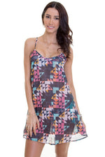 MAYLANA women short dress features colorful print with criss cross detail at back