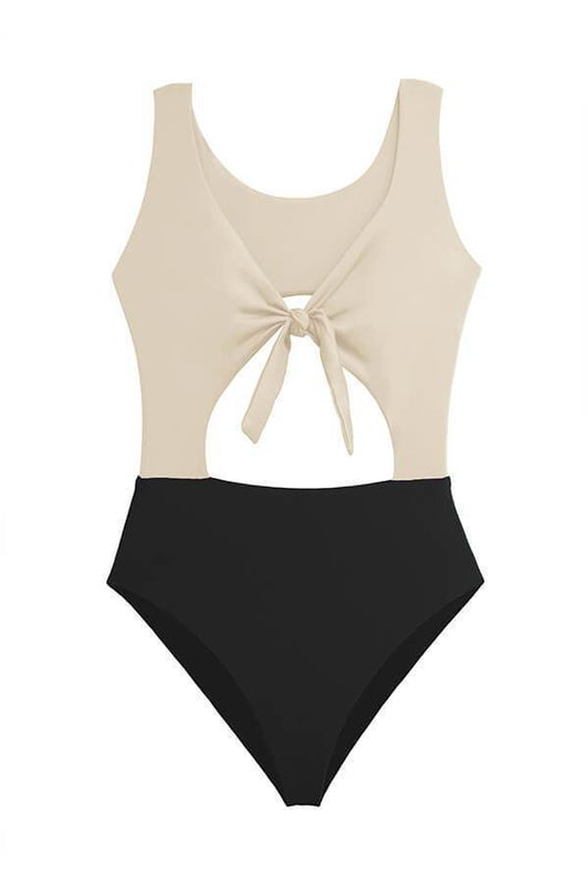 maylana women color block one piece with cut out details