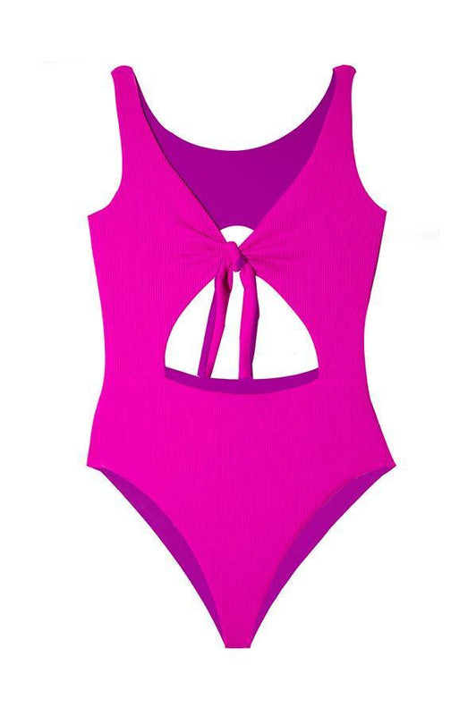 Maylana neon moderate coverage cut-out detail monokini
