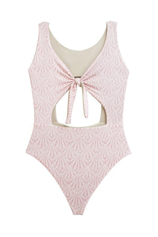 maylana monokini swimsuit pink one piece caged and tied at front
