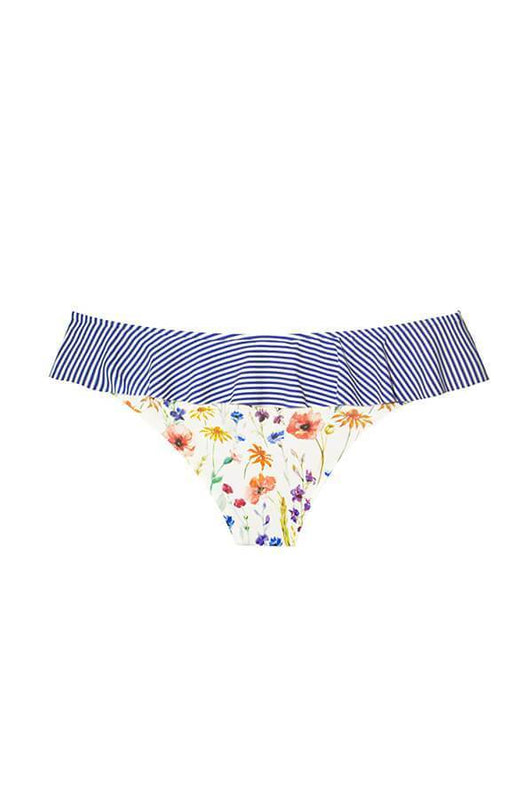 maylana swimwear skirted bottom with floral pattern and moderate cut coverage