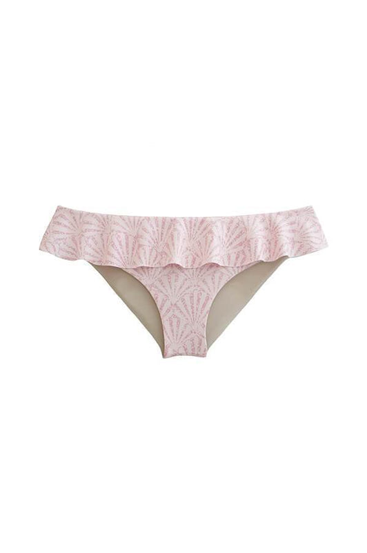 maylana pink ruffled bikini bottom with moderate coverage