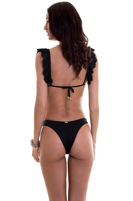 maylana black high cut bikini bottom that flatter your curves and has a brazilian cut coverage