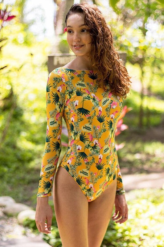 maylana rashguard swimsuit one piece yellow bodysuit