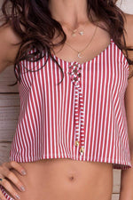 MAYLANA Sofia Red Stripes Tankini Top-OrchidBoutique