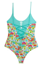 Maylana reversible one piece with caged detail at front and back