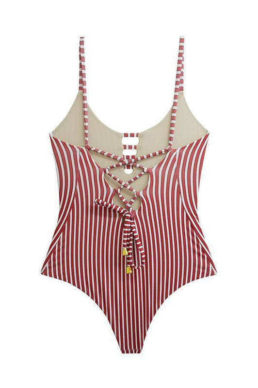 MAYLANA Stasia Red Stripes One Piece-OrchidBoutique