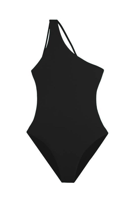 maylana women black one piece with caged details