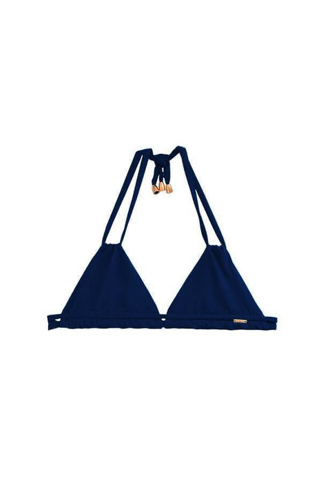 maylana navy triangle top ties at neck and back features double straps around bust and neck with gold hardware details does not provide pads