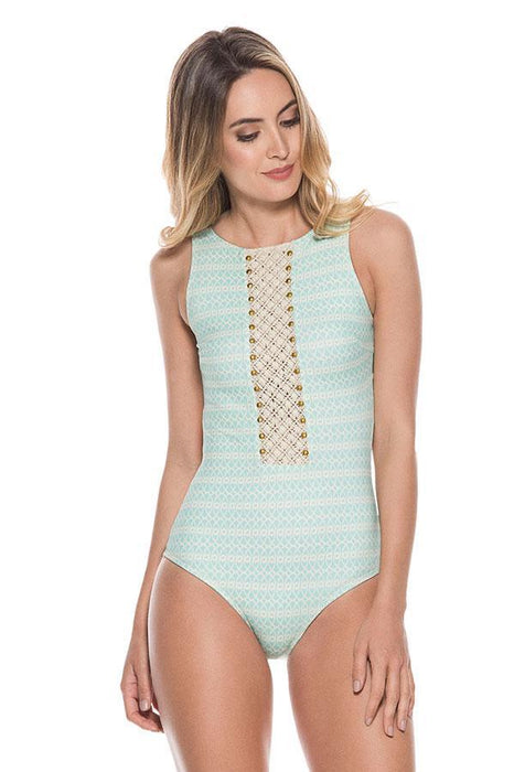 ondademar women high neck one piece provides moderate coverage at rear with hand embroidered detail