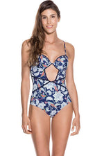 ondademar women ethnic print one piece with cut out details