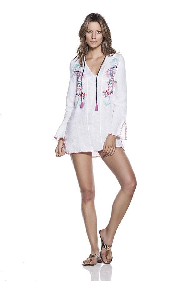 ONDADEMAR Embroidered Linen Tunic-OrchidBoutique