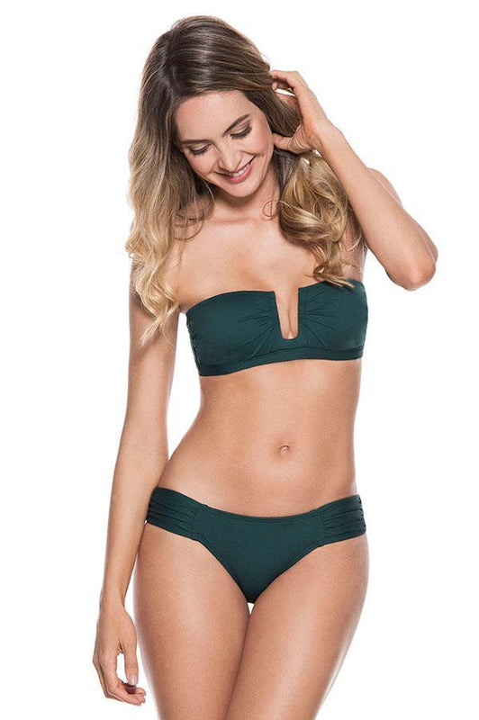 ondademar bandeau padded top provides soft cups with removable straps with ruching detail at front
