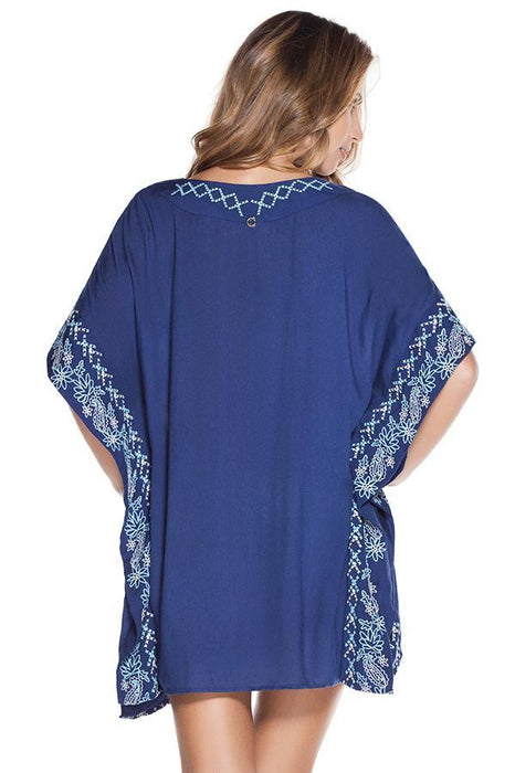 ONDADEMAR Navy Embroidered Poncho