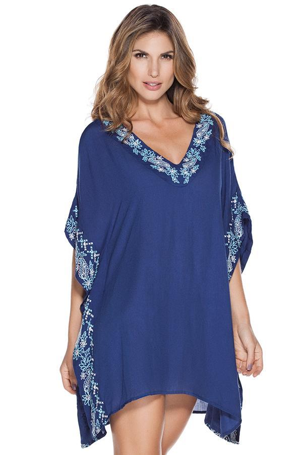 OndadeMar embroidered rayon material resort sleeved dress