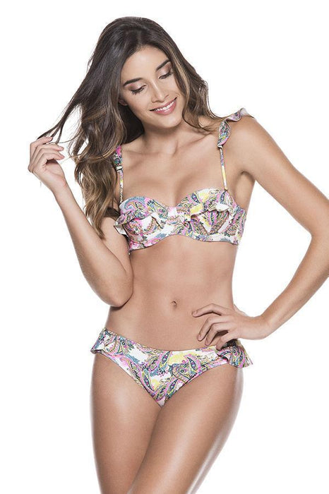 ondademar women underwire top features ruffled details at rear