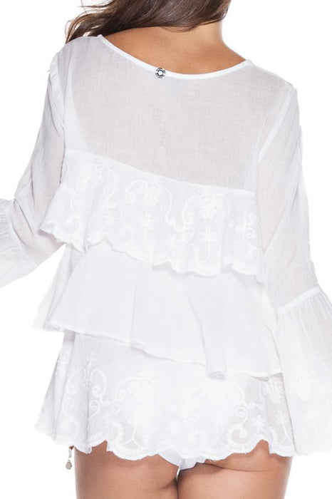 ONDADEMAR White Sleeved Blouse