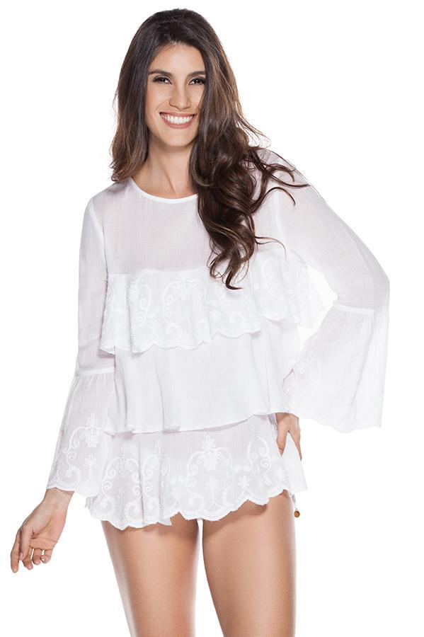 OndadeMar Embroidered ruffled cotton resort sleeved blouse